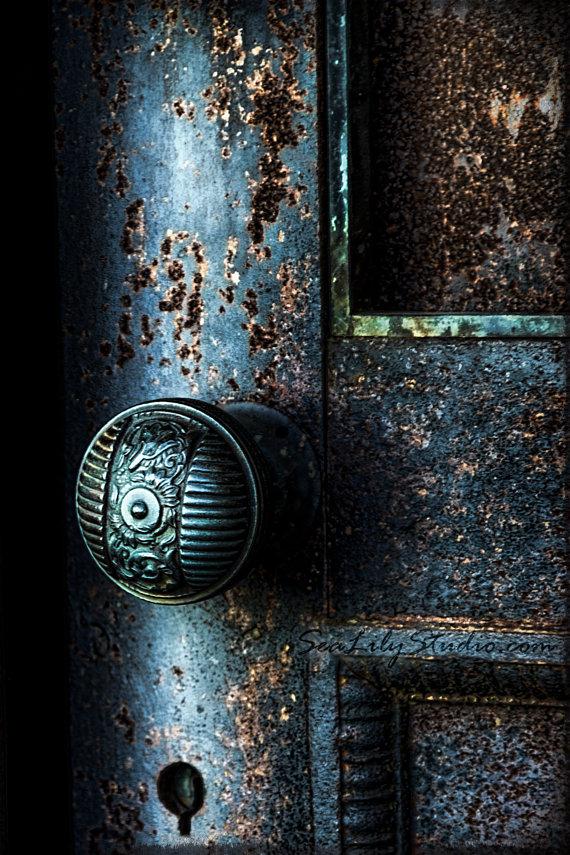 Secret Door : cemetery photography blue door by SeaLilyStudio.