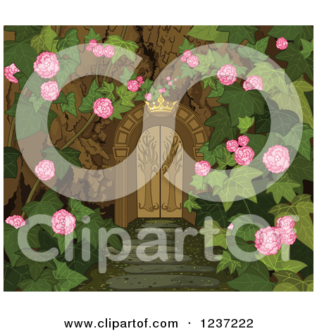 Clipart of a Crown over a Gate to a Secret Garden.