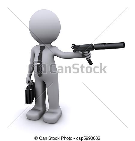 Clip Art of secret agent/gangster/spy concept csp5990682.