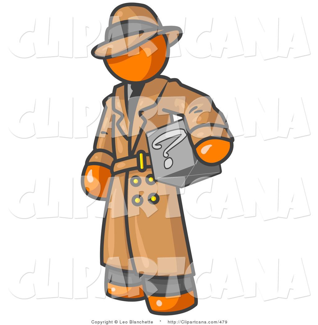 Vector Clip Art of a Secretive Orange Man in a Brown Trench Coat.