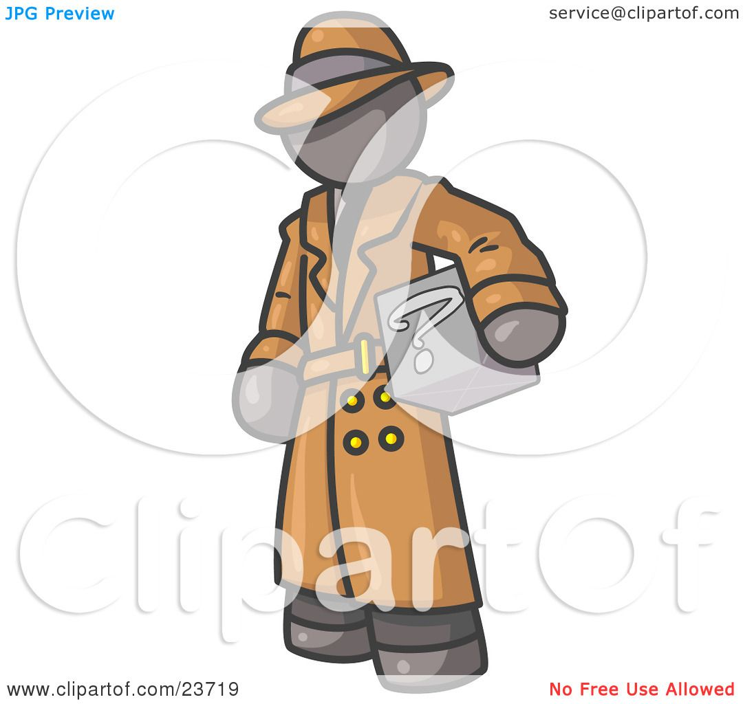 Clipart Illustration of a Secretive Gray Man in a Trench Coat and.