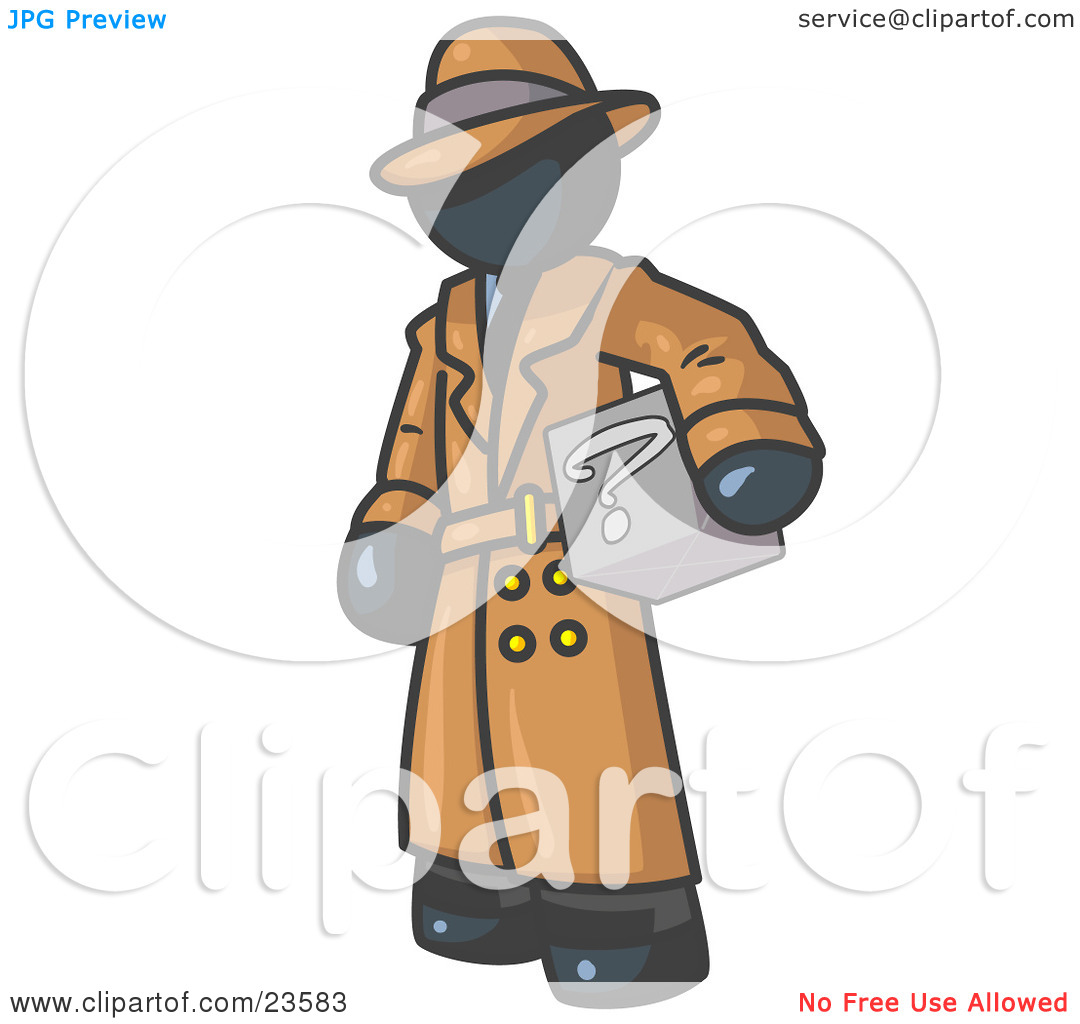 Clipart Illustration of a Secretive Navy Blue Man in a Trench Coat.