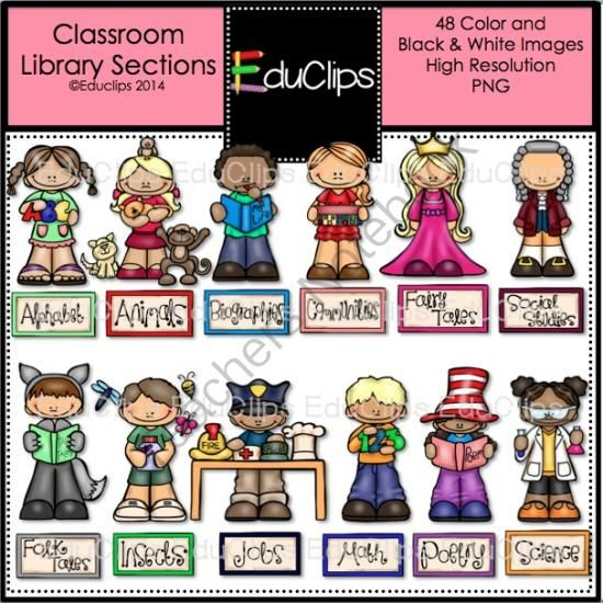 Classroom Library Sections Clip Art Bundle from Educlips on.