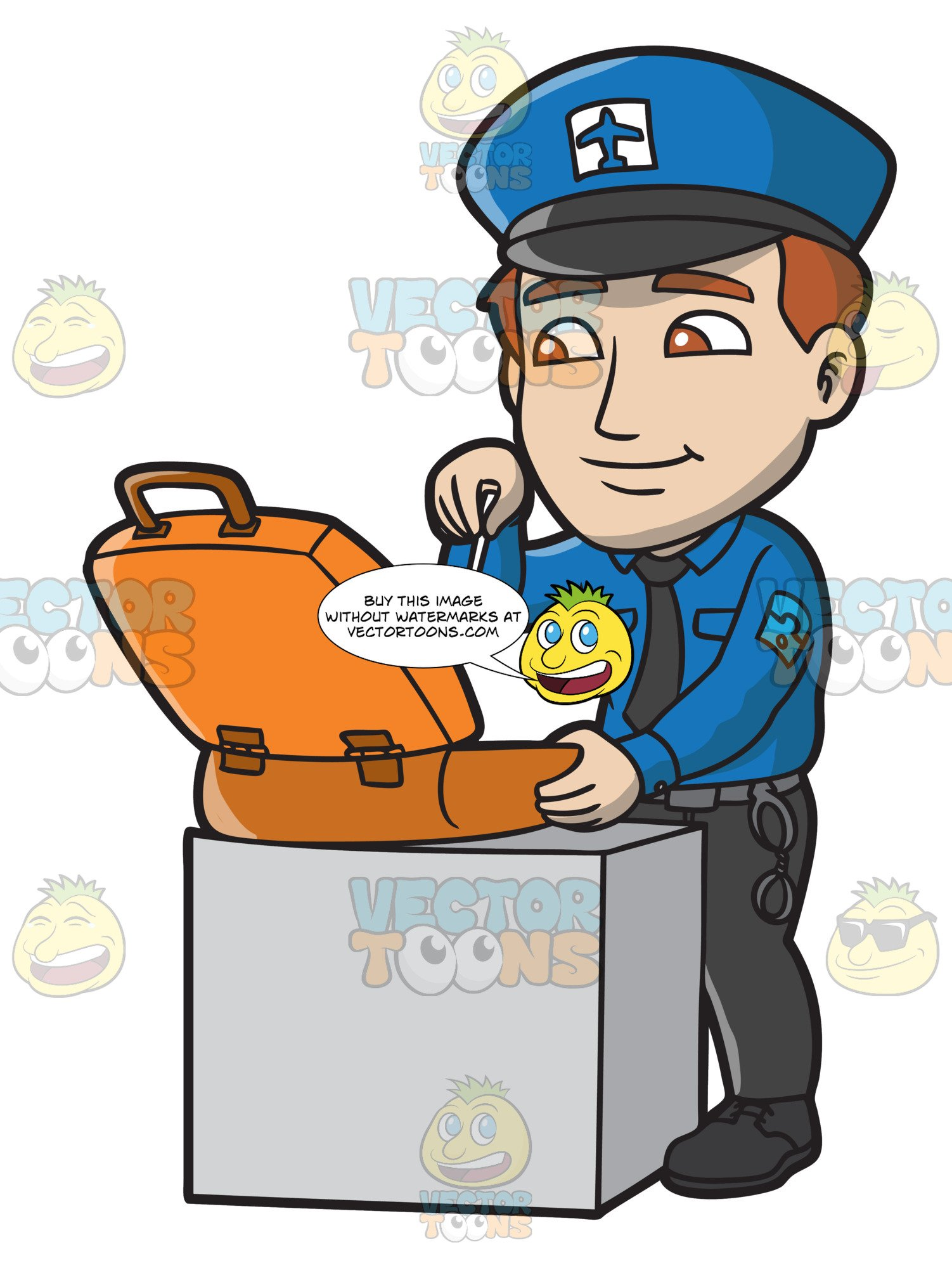 A Male Airport Security Guard Inspecting A Suitcase.