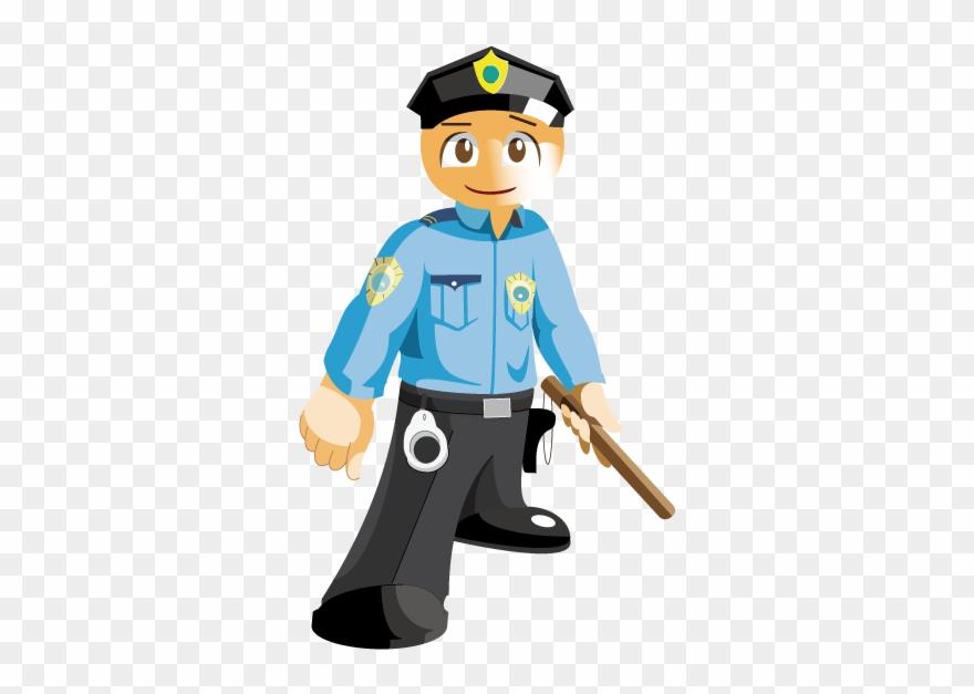 Police Cartoon Security Guard Career With Batons Clipart.