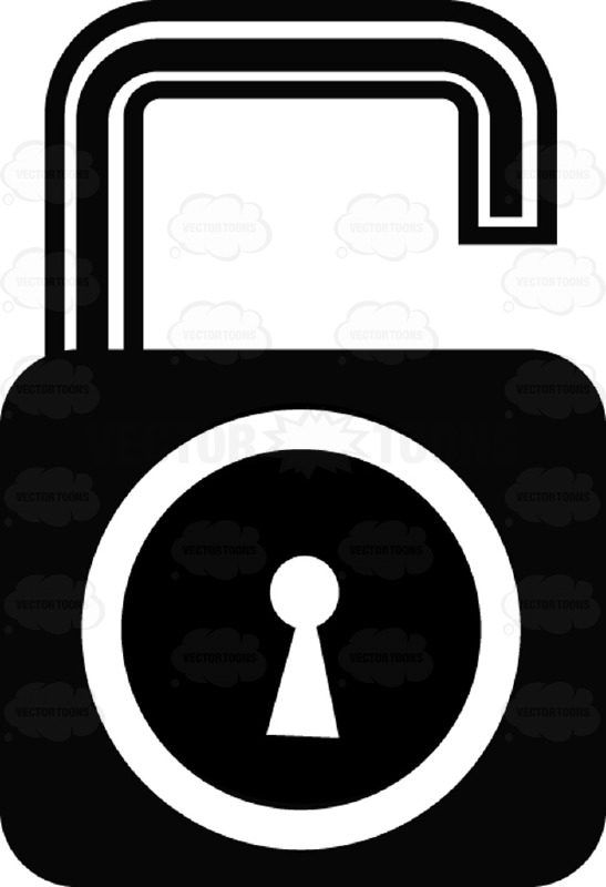Unlocked Security Key And Lock Black And White Computer Icon.