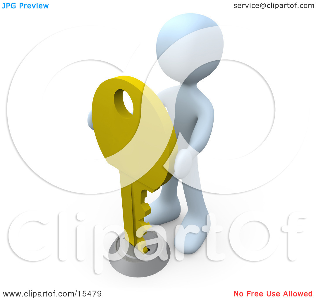 White Figure Inserting A Large Golden Key Into A Keyhole.