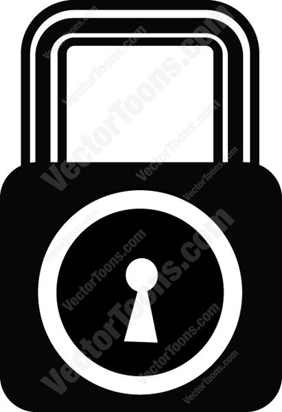 Locked Security Key And Lock Black And White Computer Icon Cartoon.