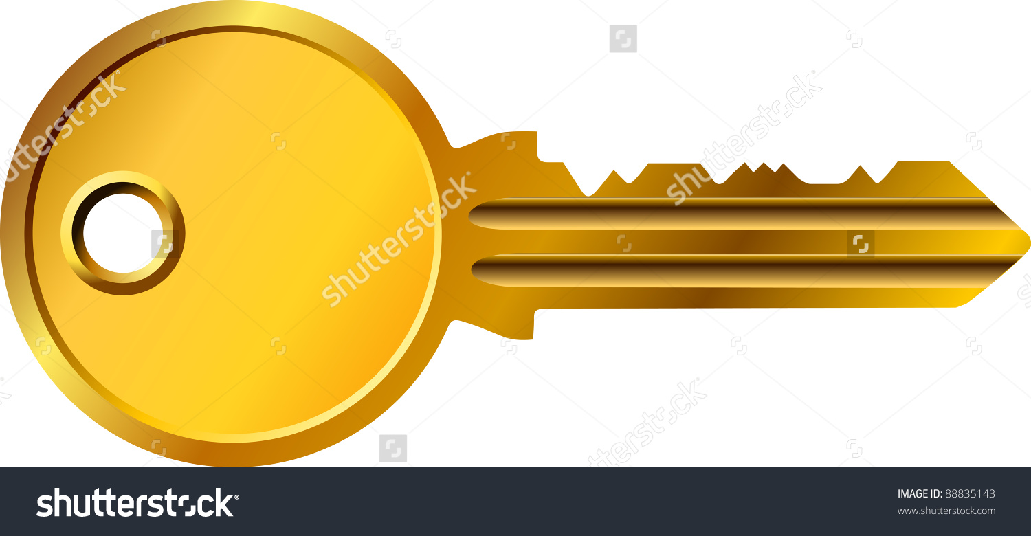 Golden Security Key Stock Vector 88835143.
