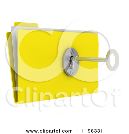 Clipart of a 3d Secure File Folder with a Security Key and Lock.