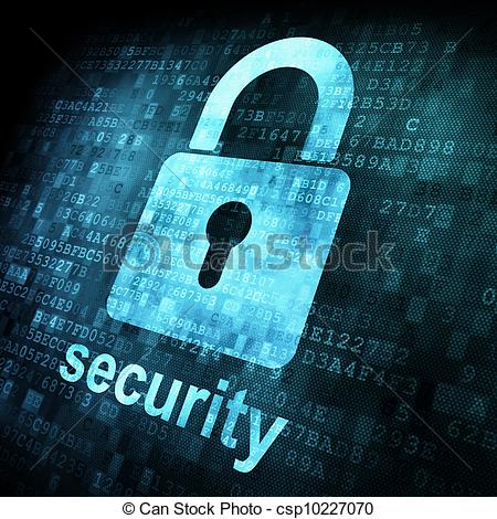 Stock Illustrations of Security concept: Lock on digital screen.