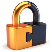 Clipart of Security concept: Database Security and Closed Padlock.