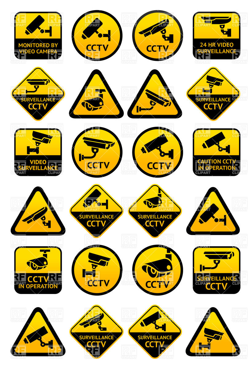 Video surveillance and security system signs Vector Image #32985.