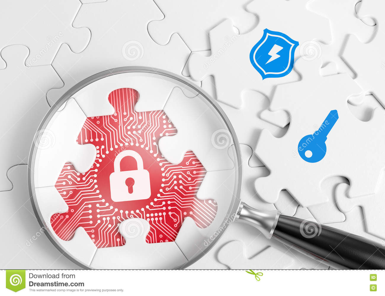 Security Vulnerability Search Stock Illustration.