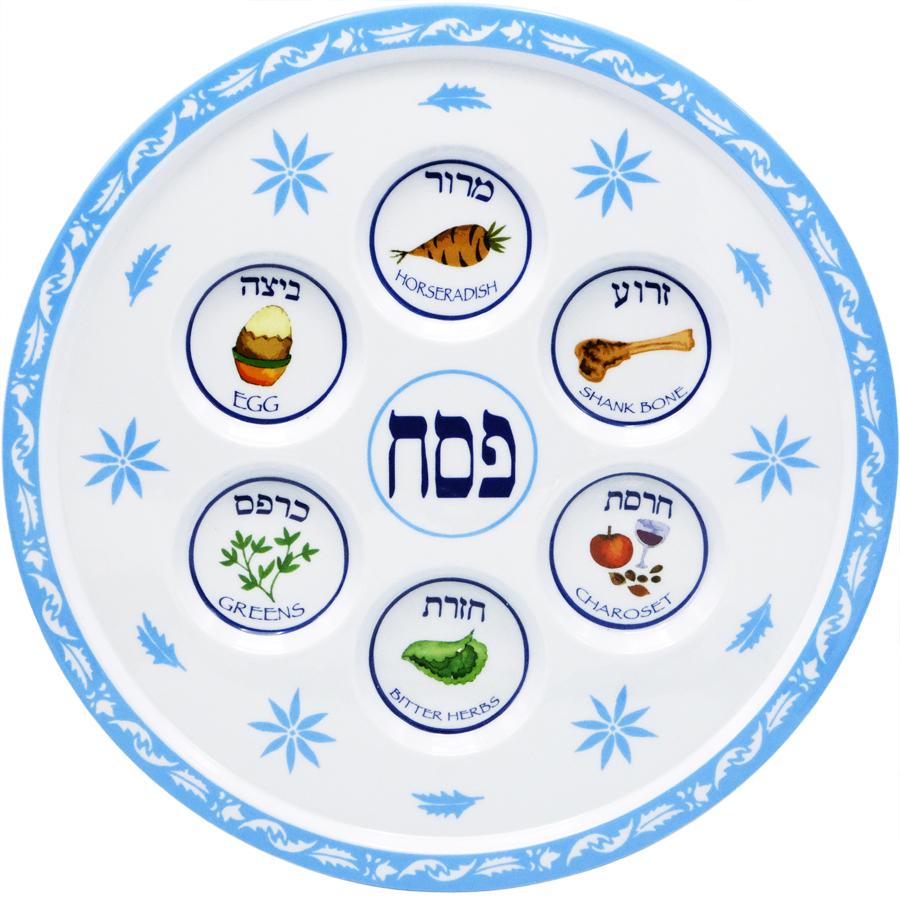Passover Seder Plate Floral Design.