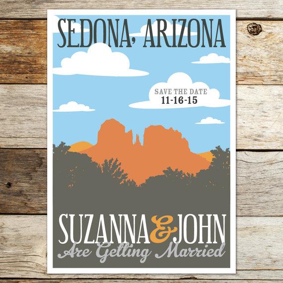 Printable Save the Date Card/Postcard Sedona Arizona Red.