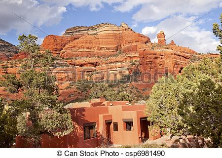 Stock Photography of Boynton Red Rock Canyon Building Blue Skies.
