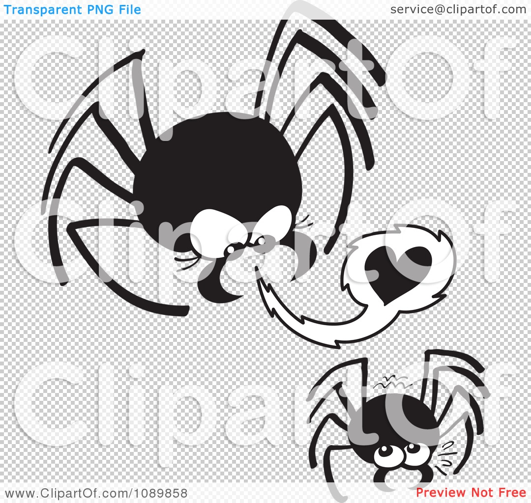 Clipart Dangerous Black Spider Trying To Seduce A Mate.