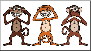 Clip Art: Cartoon Monkeys: Hear No Evil, See No Evil, Speak.