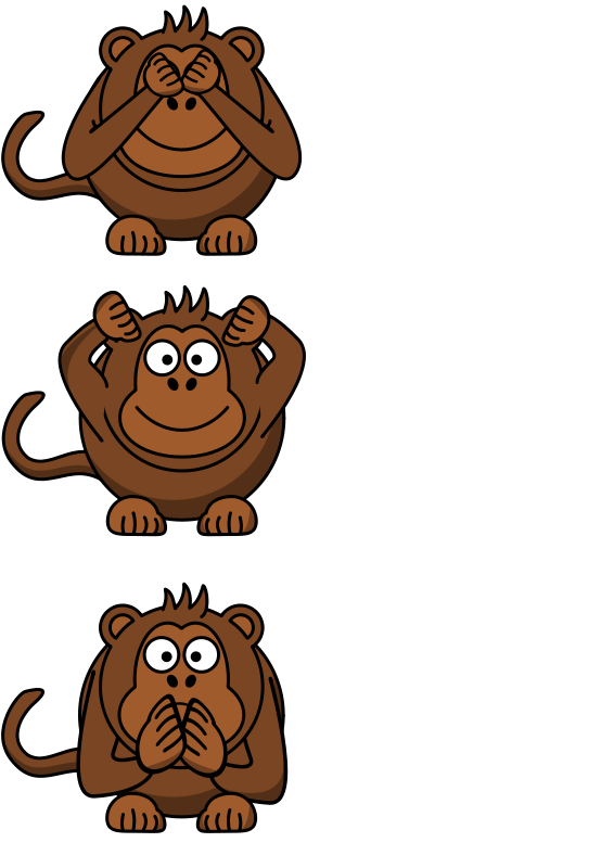 Free Clipart: See/hear/speak no evil monkey.