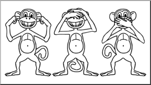 Clip Art: Cartoon Monkeys: Hear No Evil, See No Evil, Speak.