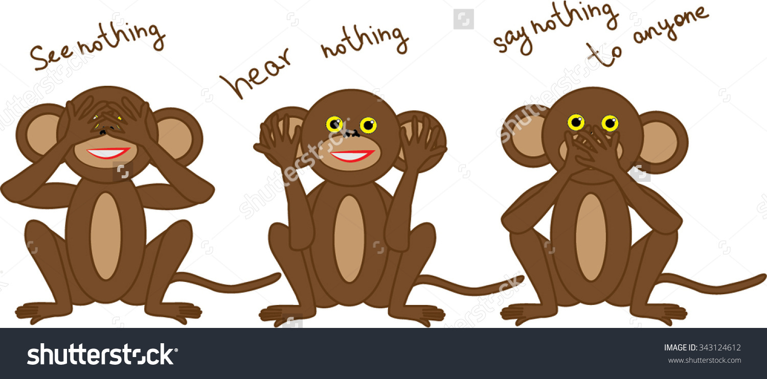 One Three Wise Monkeys That Symbolize Stock Vector 343124612.