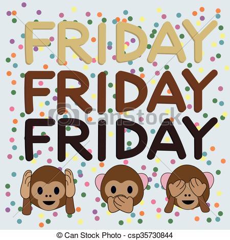 EPS Vector of Party Friday and monkeys. Three monkeys.