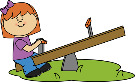 Girl on a See Saw Clip Art.