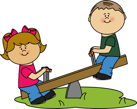 Children on a See Saw Clip Art.