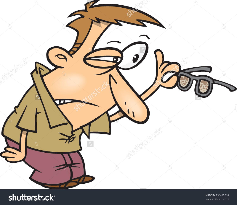 Cartoon Man Trying See Through His Stock Vector 155470238.