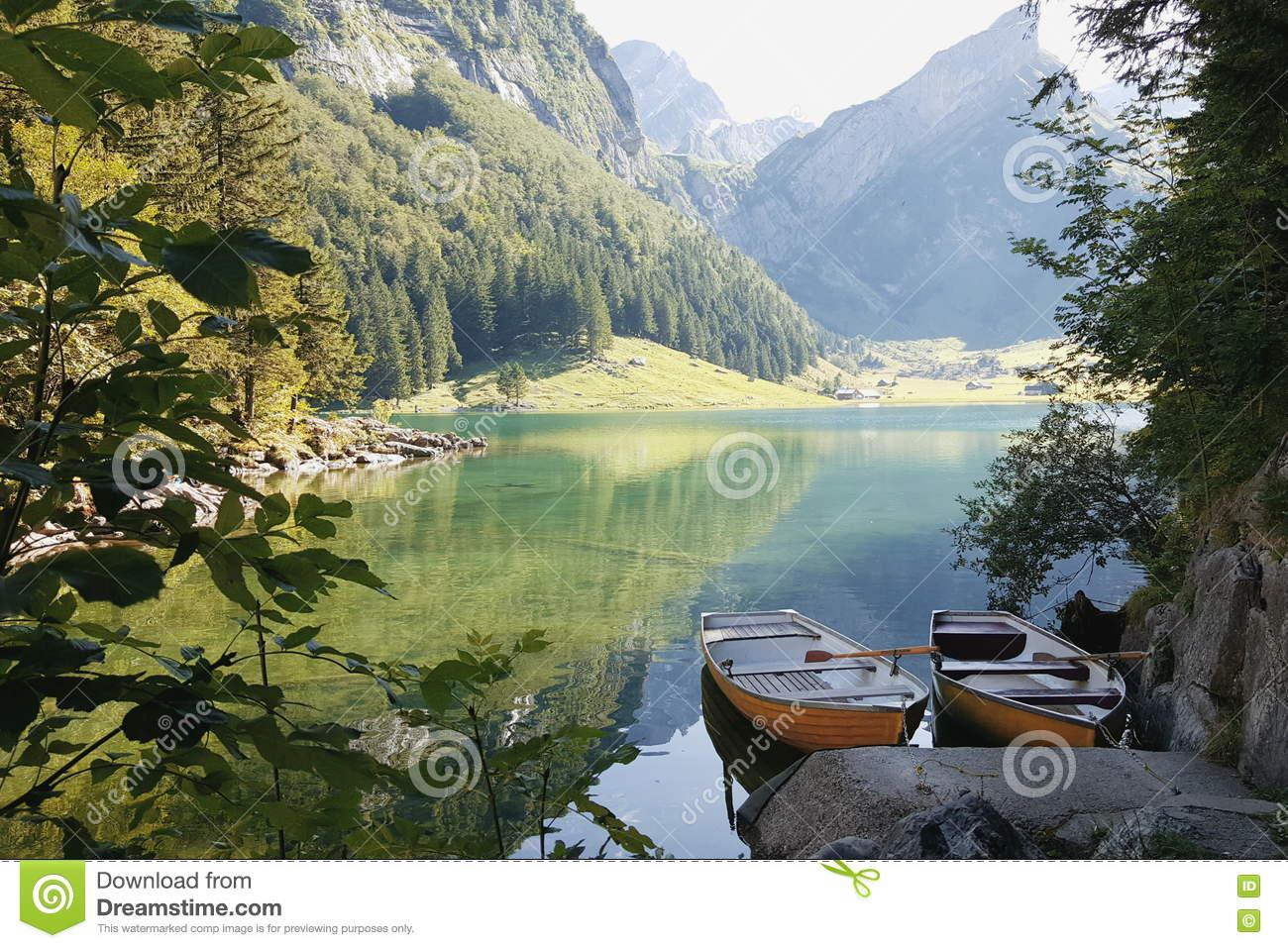 Seealpsee Lake In Switzerland Stock Photo.