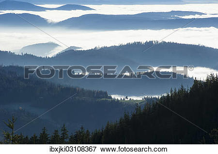 """Picture of """"Wooded hills, fog, Seebach, Nordschwarzwald."""