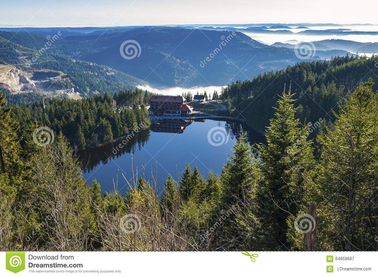 The Lake Mummelsee In Seebach Stock Photo.