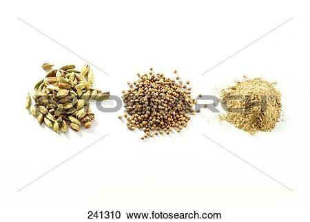 Stock Photography of Cardamom (capsules, seeds and powder) 241310.