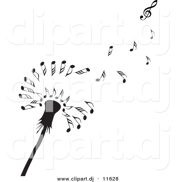 Vector Clipart of a Black Dandelion Seedhead with Music Notes by.