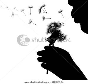 Art Image: Silhouette of a Child Blowing Seeds From a Dandelion.