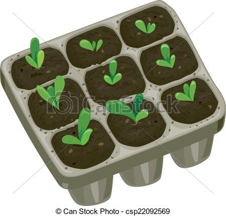 EPS Vector of Seedling Tray Mascot.