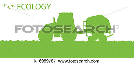 Clip Art of Ecology background organic farming vector concept with.