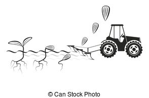 Vector Clipart of Tractor and seeder planting crops on a field.