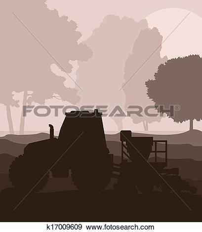 Clip Art of Tractor and seeder planting crops on a field vector.