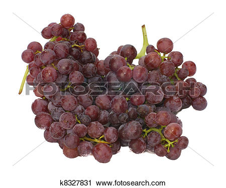 Stock Photography of Fresh red seedless grapes isolated on white.