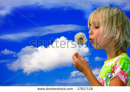 Clipart of girl taking seeds out of pods.