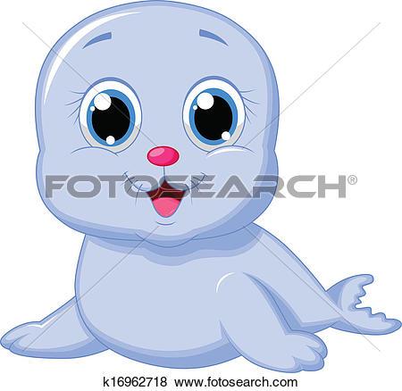 Clip Art of Cute baby seal cartoon k16962718.