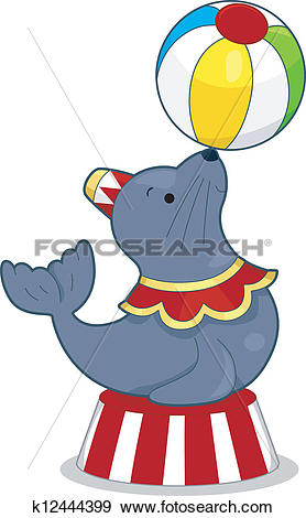 Clip Art of Circus Seal with Ball k12444399.