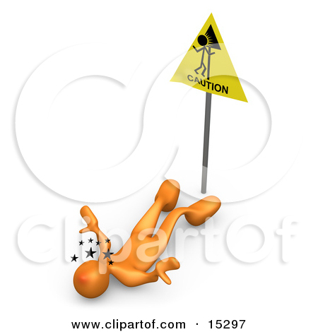 Orange Person Seeing Stars And Lying On Their Back After Slipping.