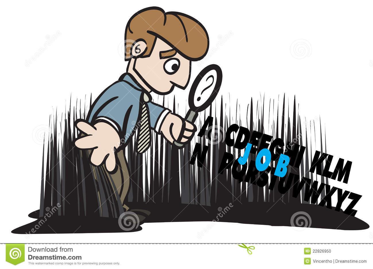 Job Seeker Looking Seeking For Job Illustration Stock Photo.
