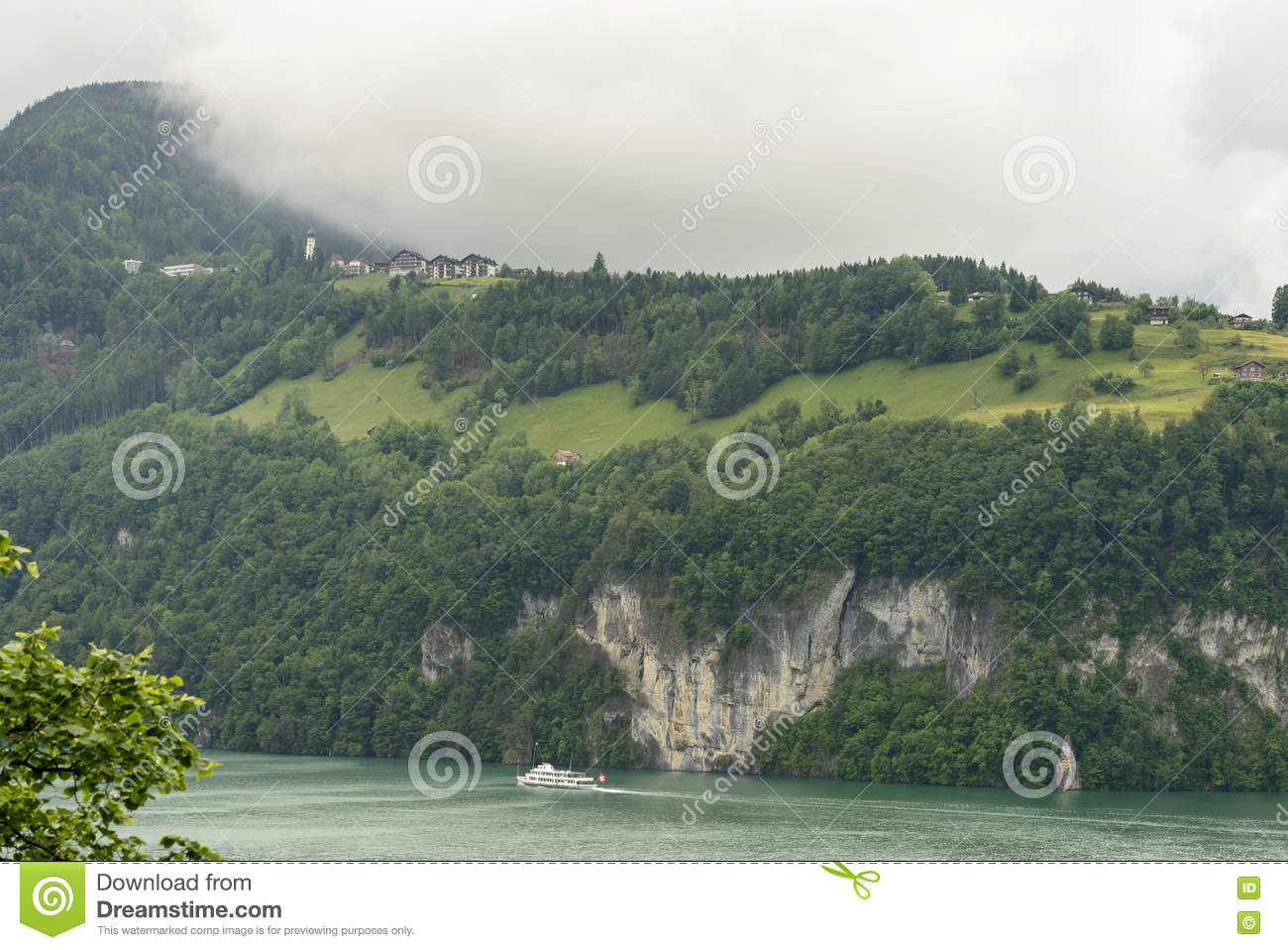 Seelisberg Village On Viervald Lake, Uri, Switzerland Stock Photo.