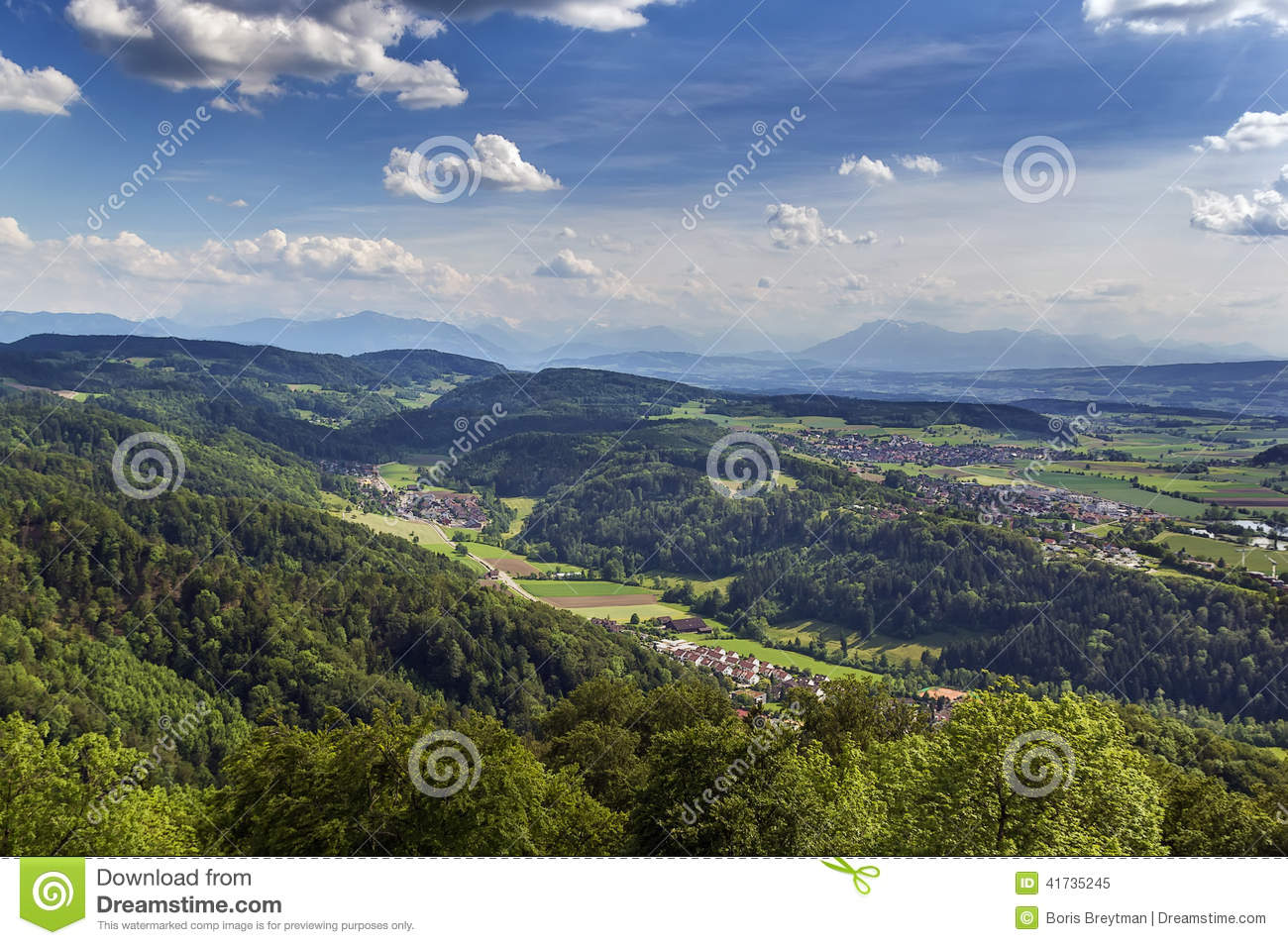 View From Uetliberg Mountain, Zurich Stock Photo.