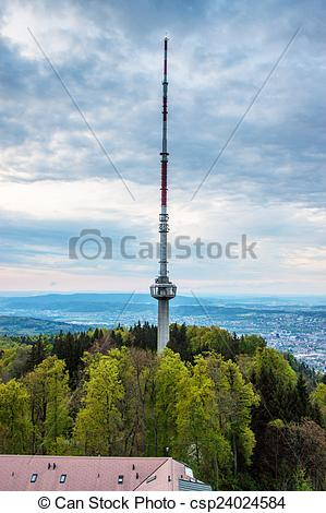 Pictures of Radio tower at Uetliberg mountain, Switzerland.
