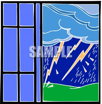 Royalty Free Clipart Image: Lightening Storm Seen Through a Window.
